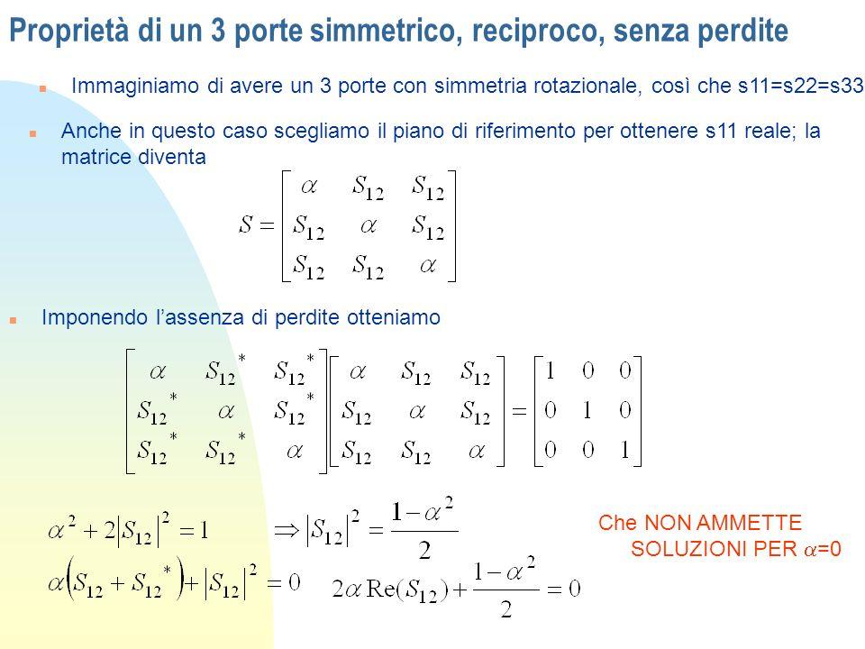 Proprietà di un 3 porte simmetrico, reciproco, senza perdite