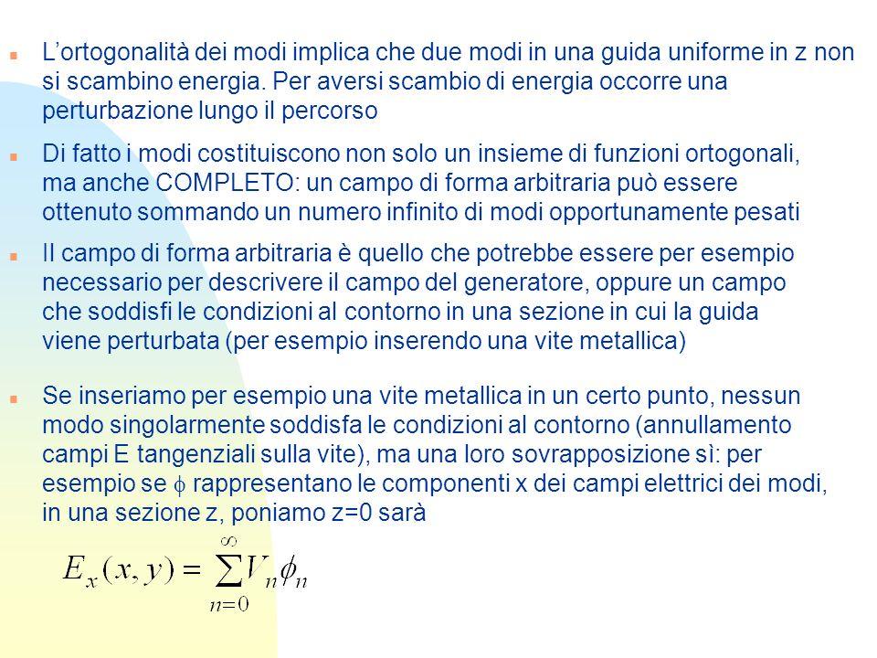 L'ortogonalità dei modi implica che due modi in una guida uniforme in z non si scambino energia. Per aversi scambio di energia occorre una perturbazione lungo il percorso