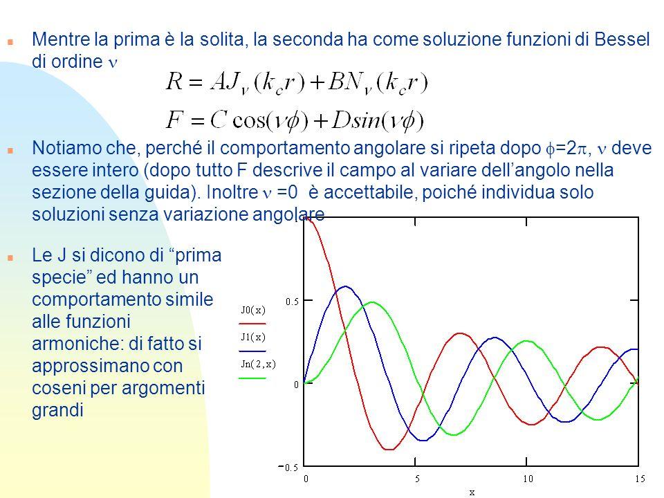 Mentre la prima è la solita, la seconda ha come soluzione funzioni di Bessel di ordine n