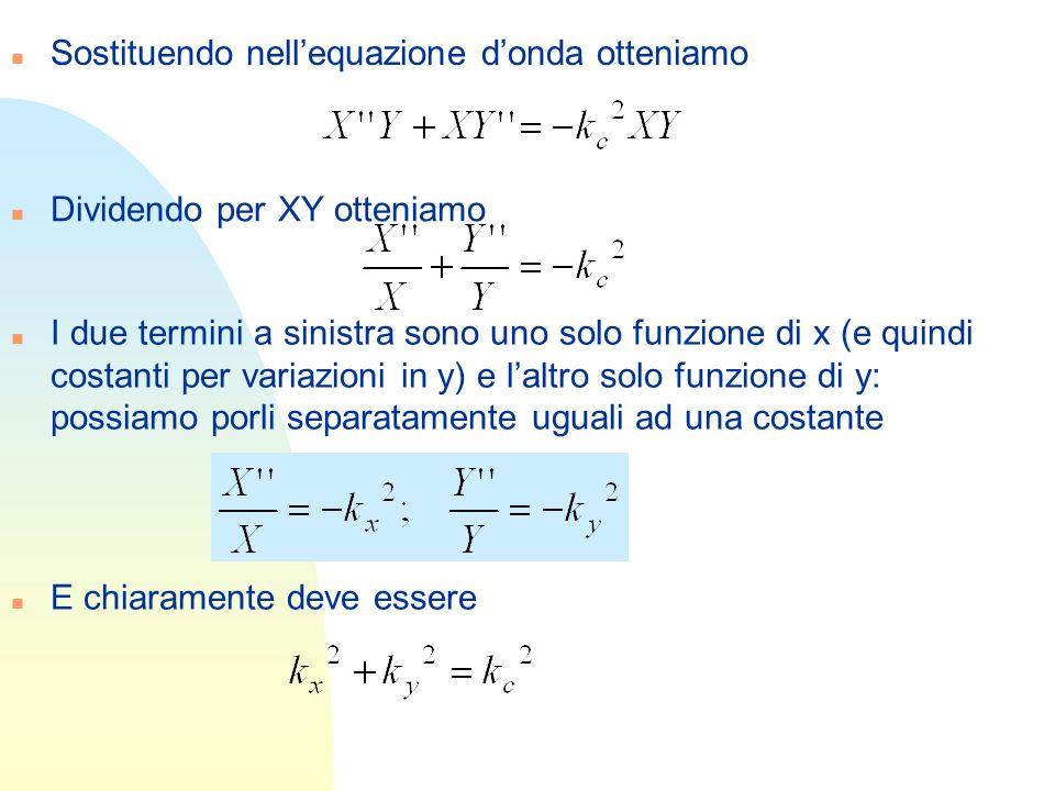 Sostituendo nell'equazione d'onda otteniamo