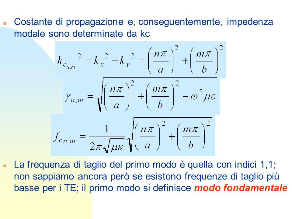 Costante di propagazione e, conseguentemente, impedenza modale sono determinate da kc