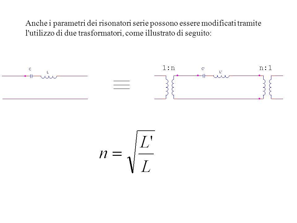 Anche i parametri dei risonatori serie possono essere modificati tramite l utilizzo di due trasformatori, come illustrato di seguito: