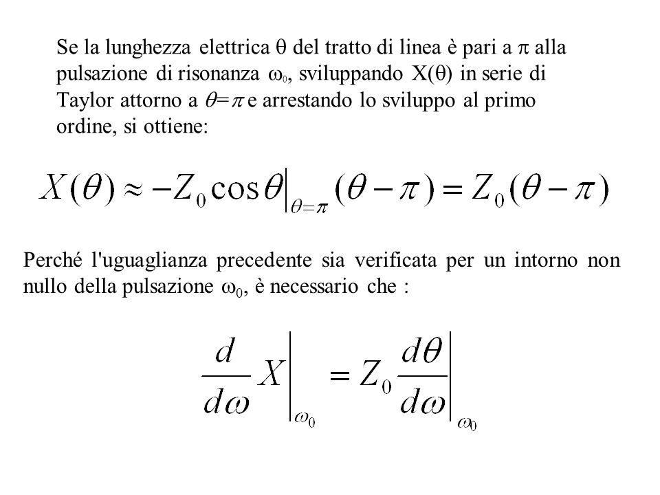 Se la lunghezza elettrica  del tratto di linea è pari a  alla pulsazione di risonanza 0, sviluppando X() in serie di Taylor attorno a = e arrestando lo sviluppo al primo ordine, si ottiene: