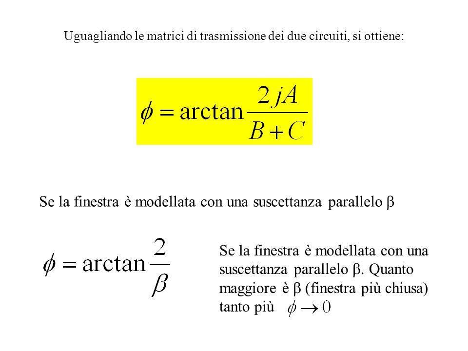 Uguagliando le matrici di trasmissione dei due circuiti, si ottiene: