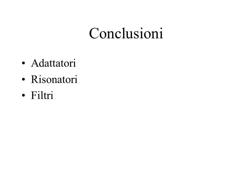 Conclusioni Adattatori Risonatori Filtri