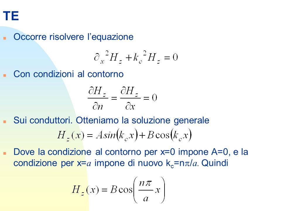 TE Occorre risolvere l'equazione Con condizioni al contorno
