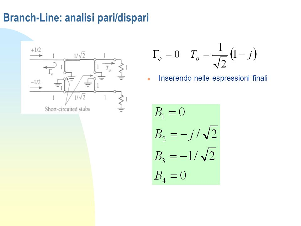 Branch-Line: analisi pari/dispari