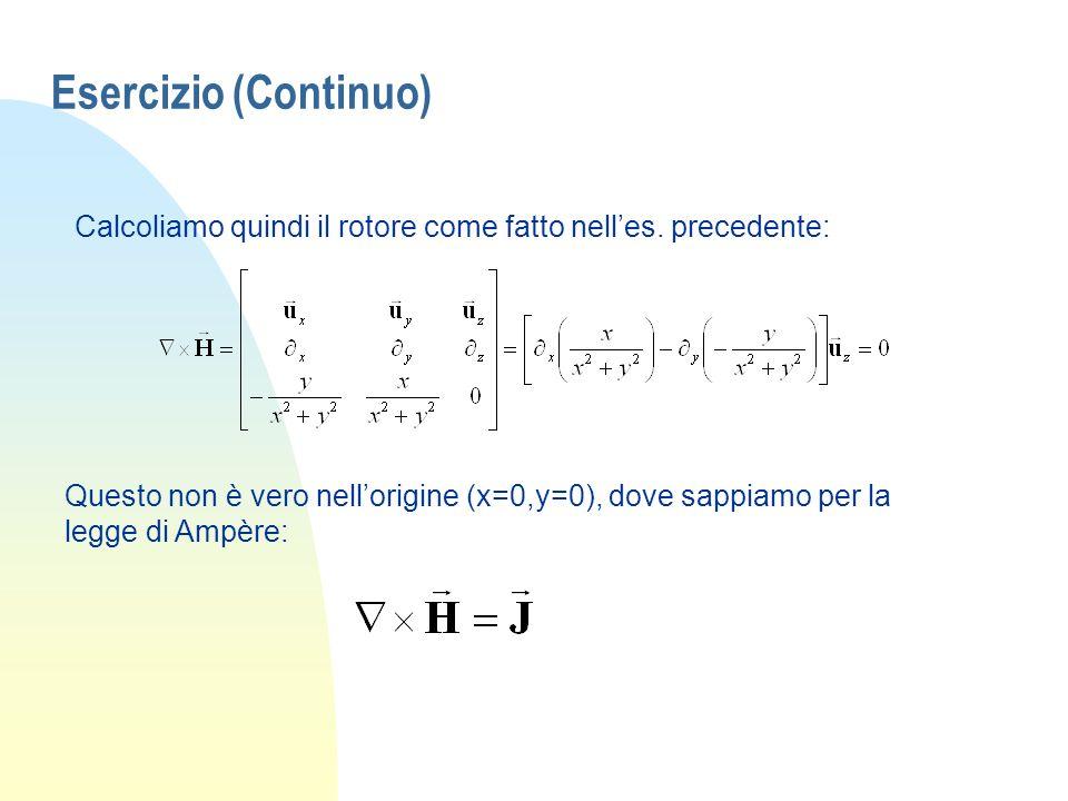 Esercizio (Continuo) Calcoliamo quindi il rotore come fatto nell'es. precedente: