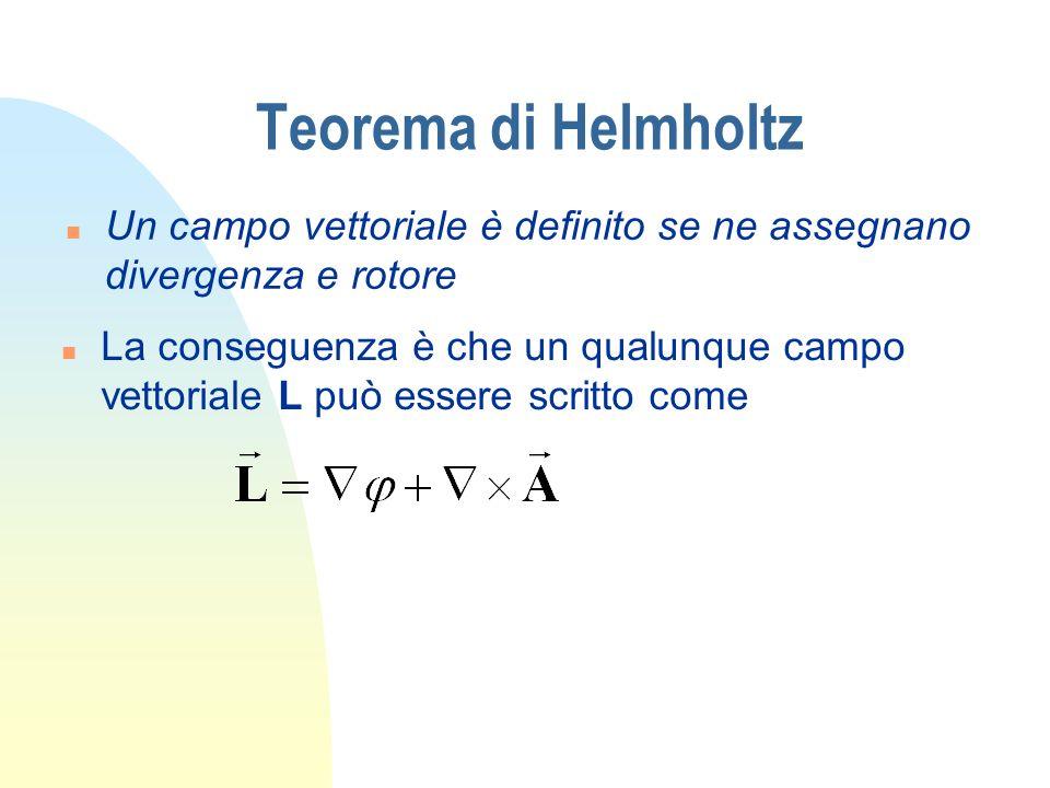 Teorema di Helmholtz Un campo vettoriale è definito se ne assegnano divergenza e rotore.