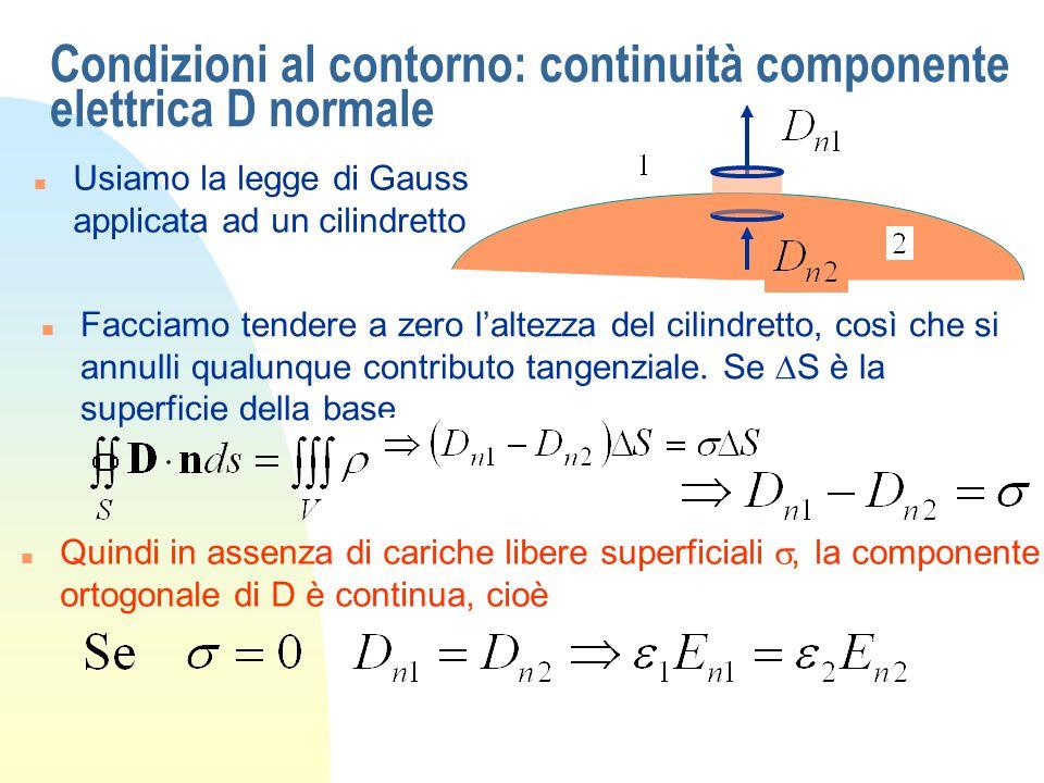 Condizioni al contorno: continuità componente elettrica D normale
