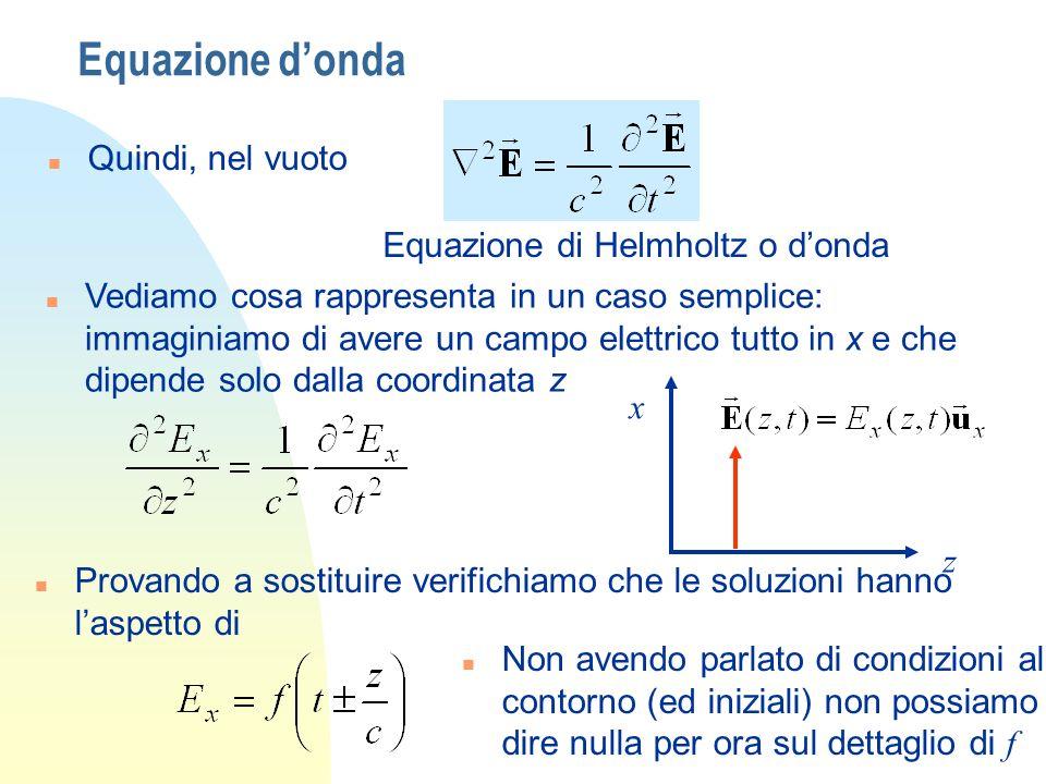 Equazione d'onda Quindi, nel vuoto Equazione di Helmholtz o d'onda