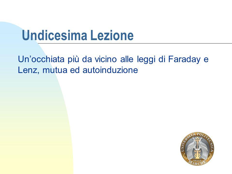 Undicesima Lezione Un'occhiata più da vicino alle leggi di Faraday e Lenz, mutua ed autoinduzione
