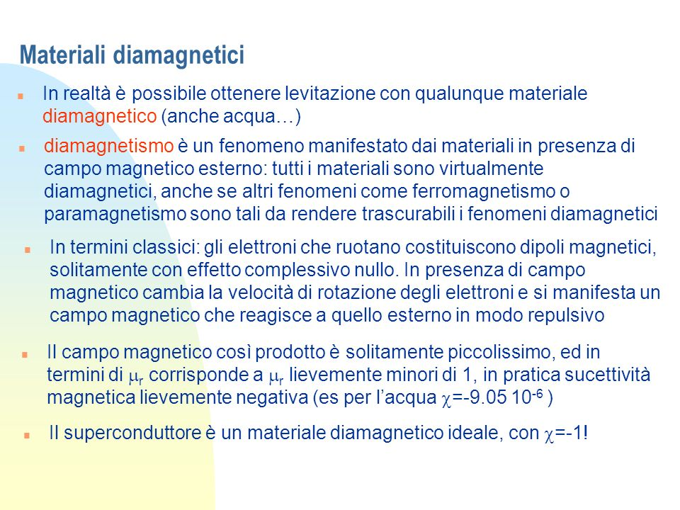 Materiali diamagnetici