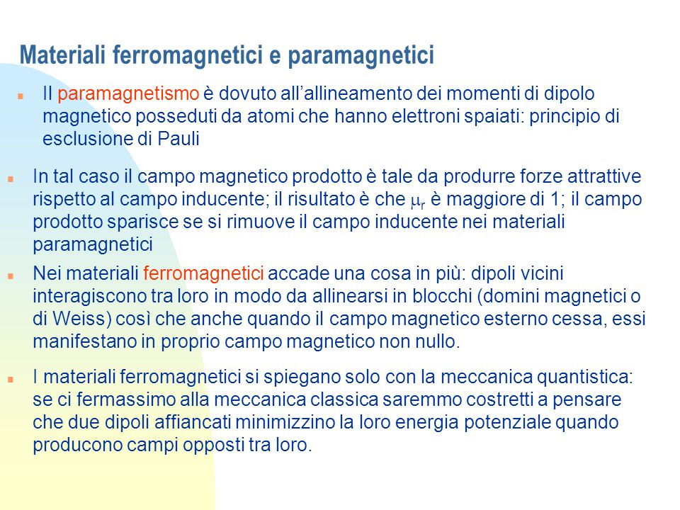 Materiali ferromagnetici e paramagnetici