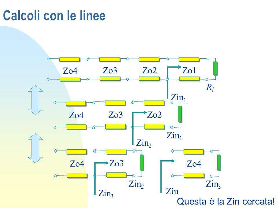Calcoli con le linee Rl Zo1 Zo2 Zo3 Zo4 Zin1 Zin1 Zo2 Zo3 Zo4 Zin2