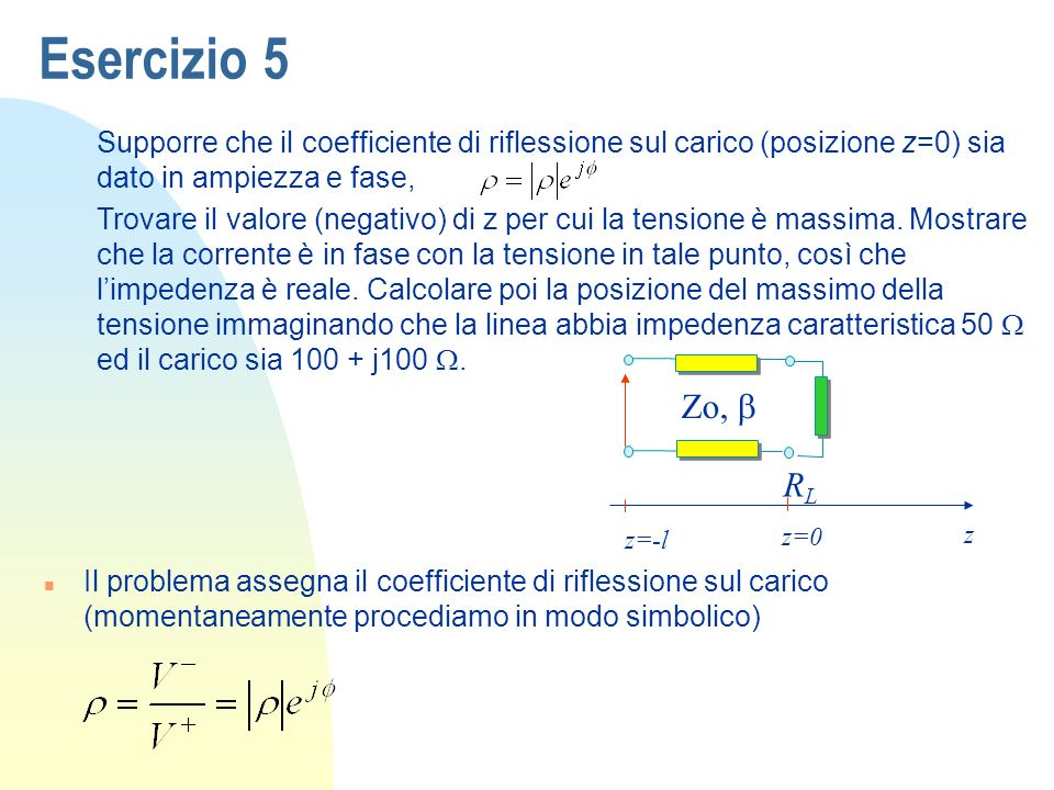 Esercizio 5 Supporre che il coefficiente di riflessione sul carico (posizione z=0) sia dato in ampiezza e fase,