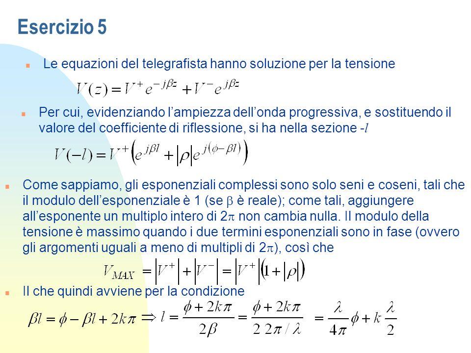 Esercizio 5 Le equazioni del telegrafista hanno soluzione per la tensione.