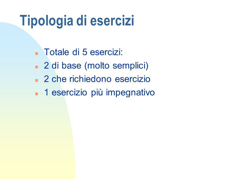 Tipologia di esercizi Totale di 5 esercizi: 2 di base (molto semplici)