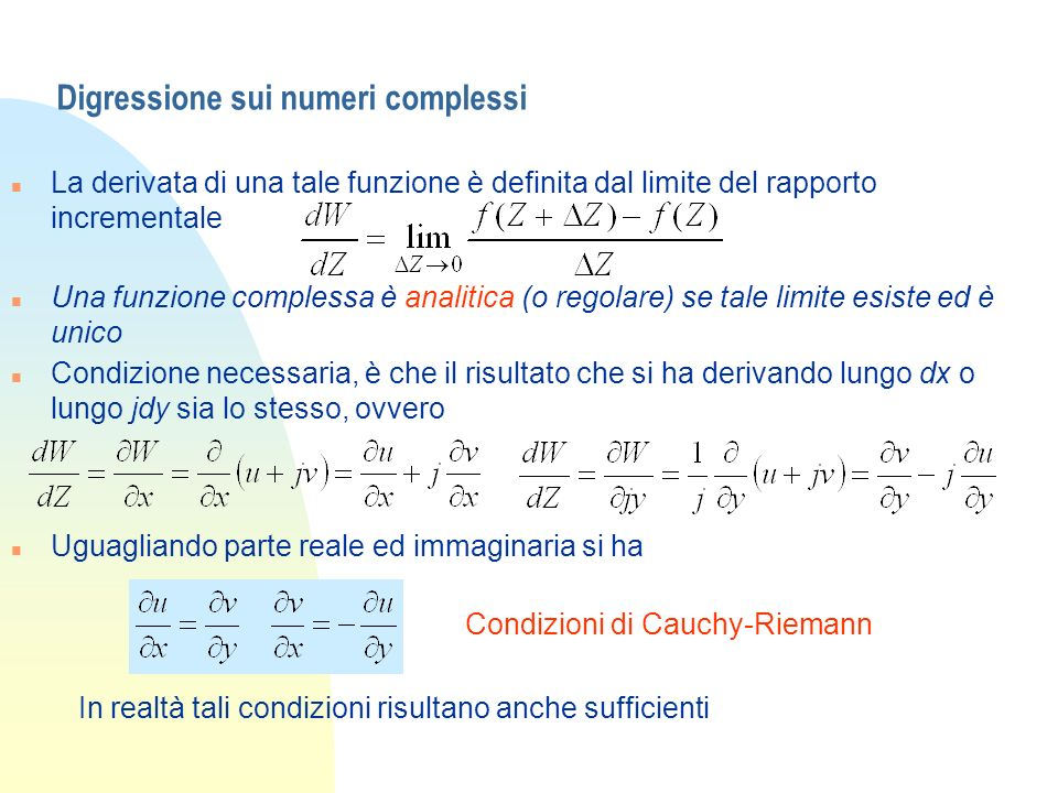 Digressione sui numeri complessi