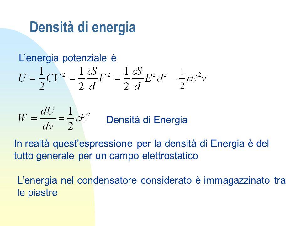 Densità di energia L'energia potenziale è Densità di Energia
