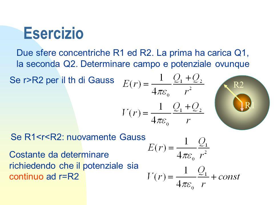 Esercizio Due sfere concentriche R1 ed R2. La prima ha carica Q1, la seconda Q2. Determinare campo e potenziale ovunque.