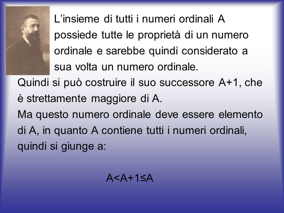 L'insieme di tutti i numeri ordinali A possiede tutte le proprietà di un numero ordinale e sarebbe quindi considerato a sua volta un numero ordinale.