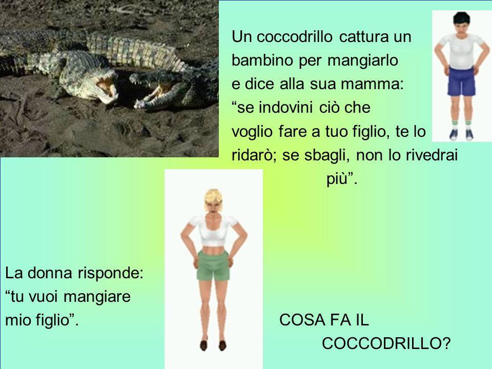 Un coccodrillo cattura un bambino per mangiarlo e dice alla sua mamma: se indovini ciò che voglio fare a tuo figlio, te lo ridarò; se sbagli, non lo rivedrai più .