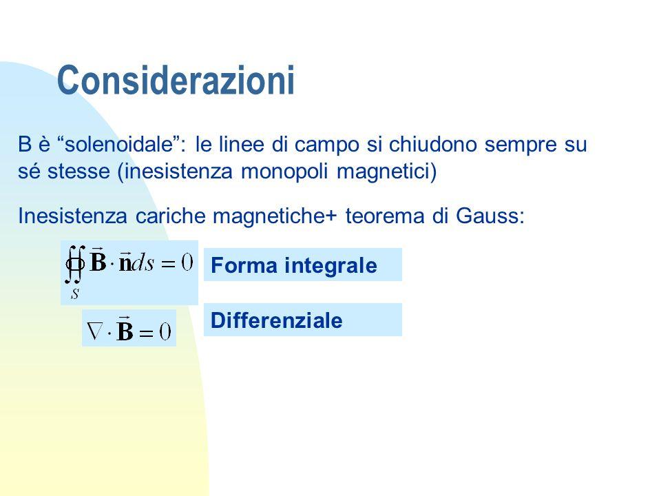 Considerazioni B è solenoidale : le linee di campo si chiudono sempre su sé stesse (inesistenza monopoli magnetici)