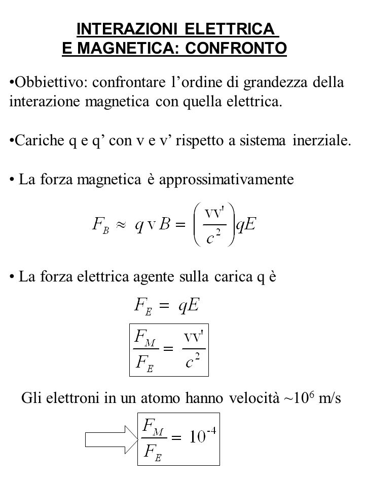 INTERAZIONI ELETTRICA E MAGNETICA: CONFRONTO