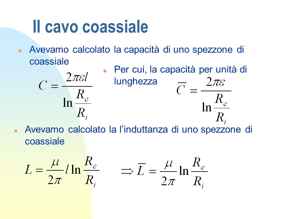 Il cavo coassiale Avevamo calcolato la capacità di uno spezzone di coassiale. Per cui, la capacità per unità di lunghezza.