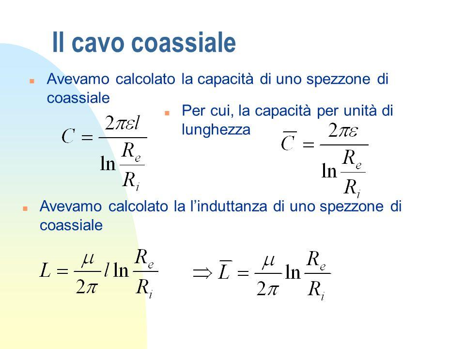 Il cavo coassialeAvevamo calcolato la capacità di uno spezzone di coassiale. Per cui, la capacità per unità di lunghezza.