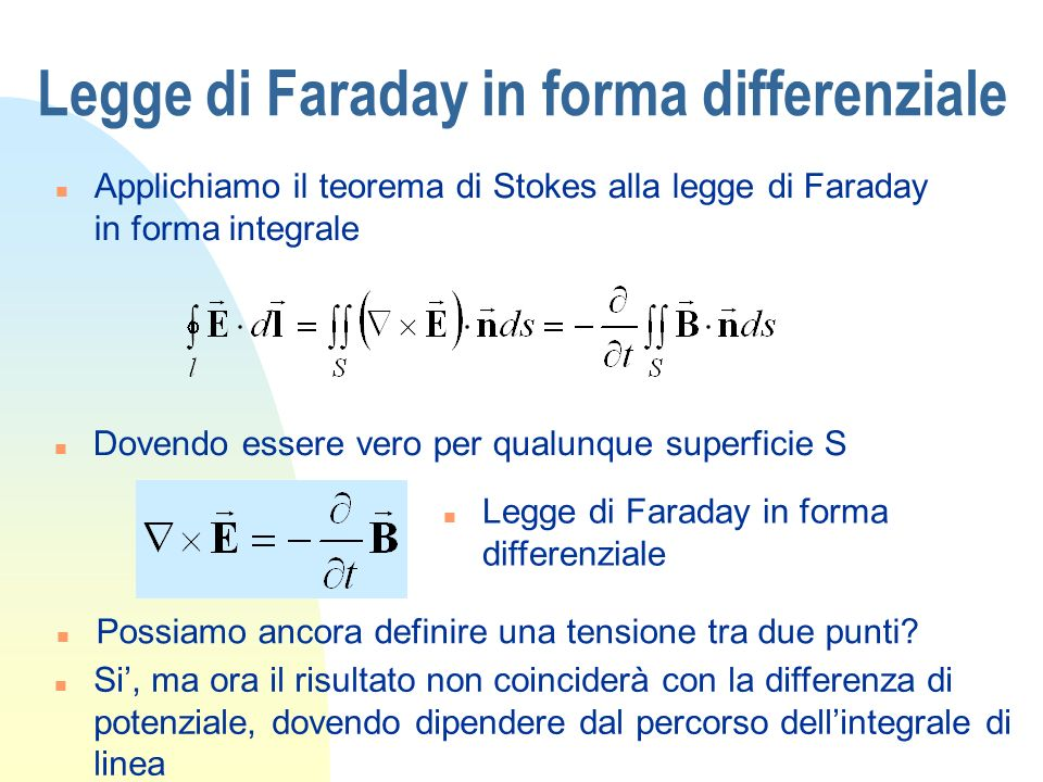 Legge di Faraday in forma differenziale
