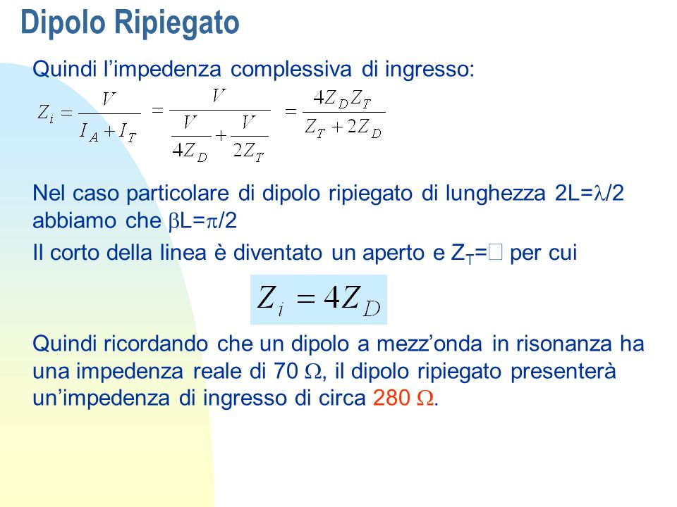 Dipolo Ripiegato Quindi l'impedenza complessiva di ingresso: