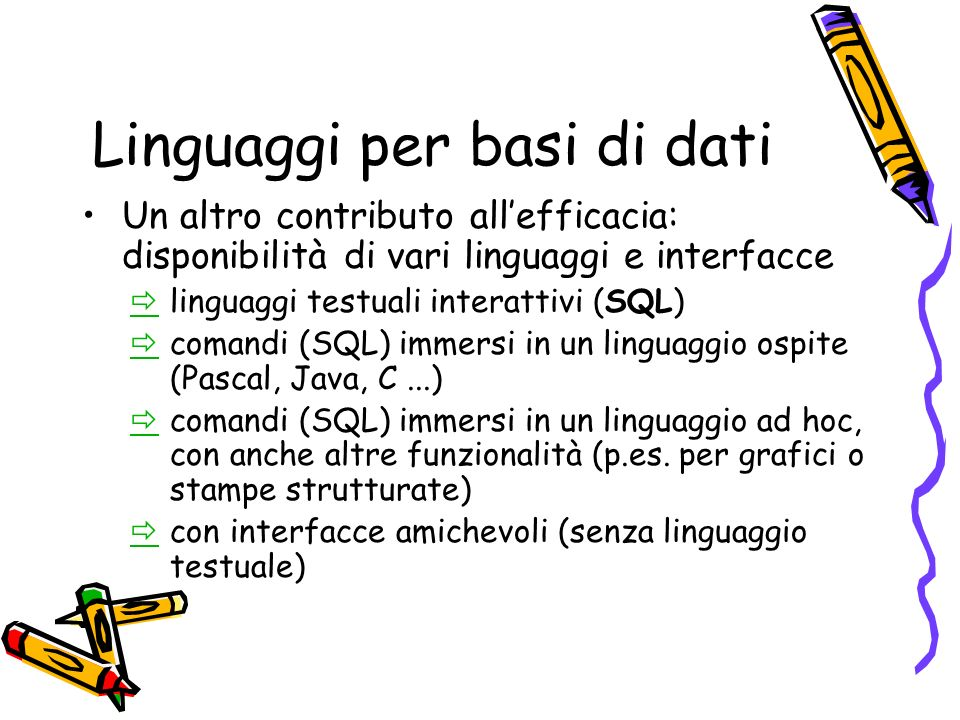 Linguaggi per basi di dati