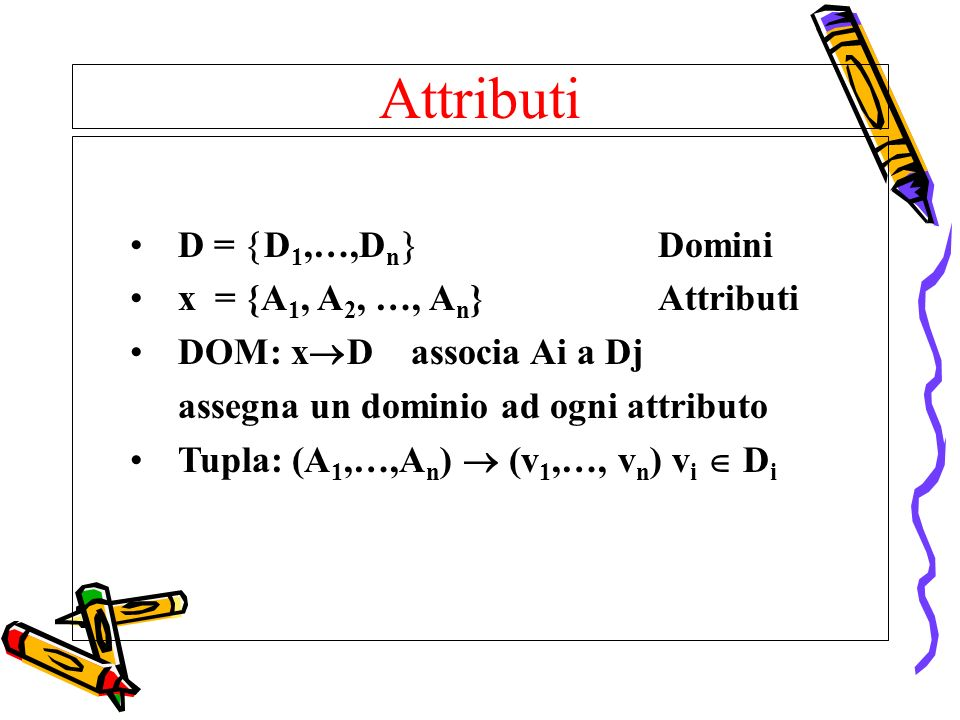 Attributi D = D1,…,Dn Domini x = {A1, A2, …, An} Attributi