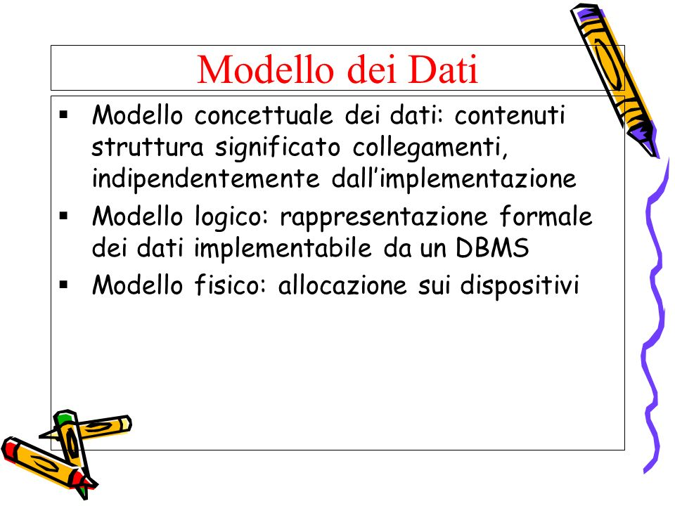 Modello dei DatiModello concettuale dei dati: contenuti struttura significato collegamenti, indipendentemente dall'implementazione.