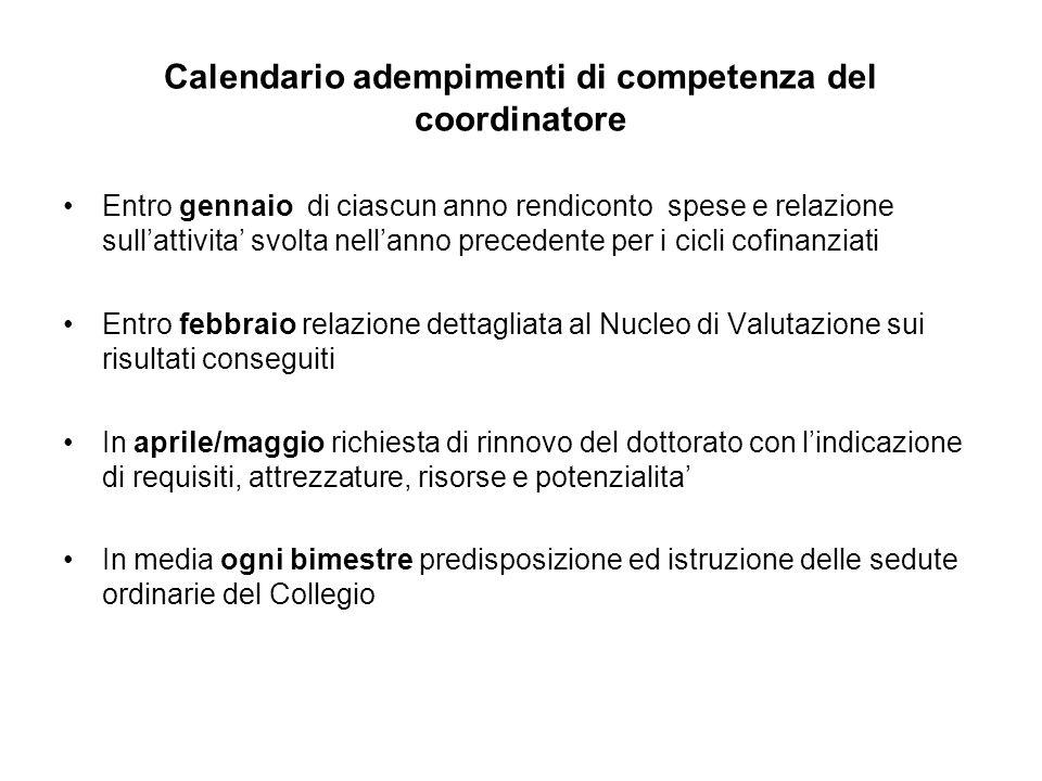 Calendario adempimenti di competenza del coordinatore