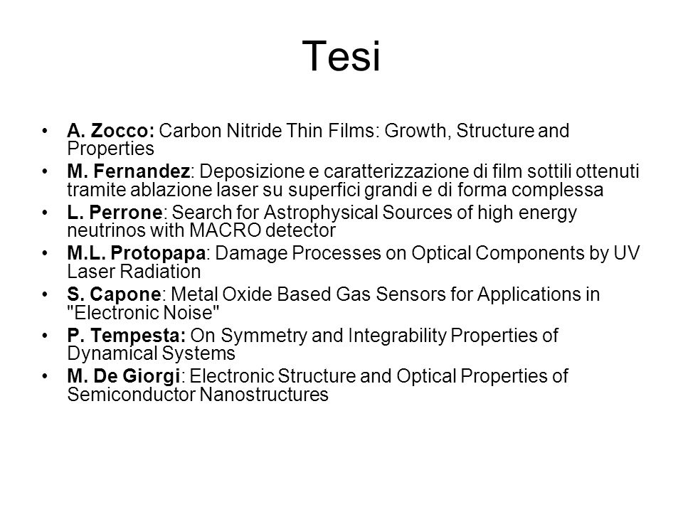 Tesi A. Zocco: Carbon Nitride Thin Films: Growth, Structure and Properties.