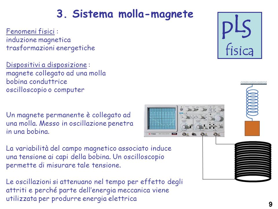 L S P fisica 3. Sistema molla-magnete Fenomeni fisici :