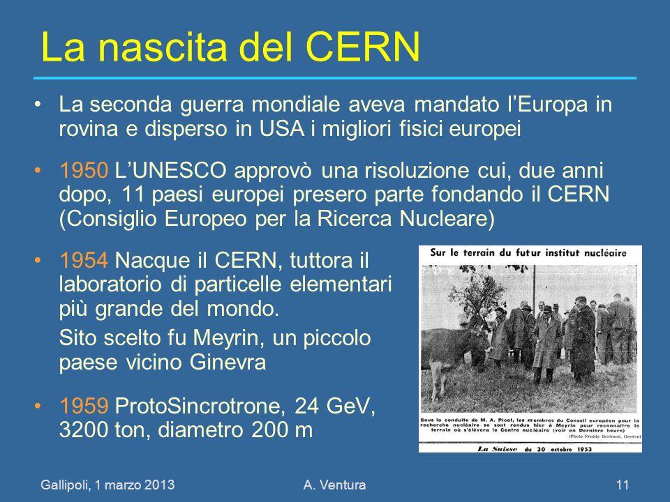 27/03/2017 La nascita del CERN. La seconda guerra mondiale aveva mandato l'Europa in rovina e disperso in USA i migliori fisici europei.