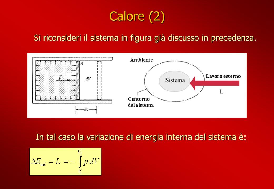 Calore (2) Si riconsideri il sistema in figura già discusso in precedenza.