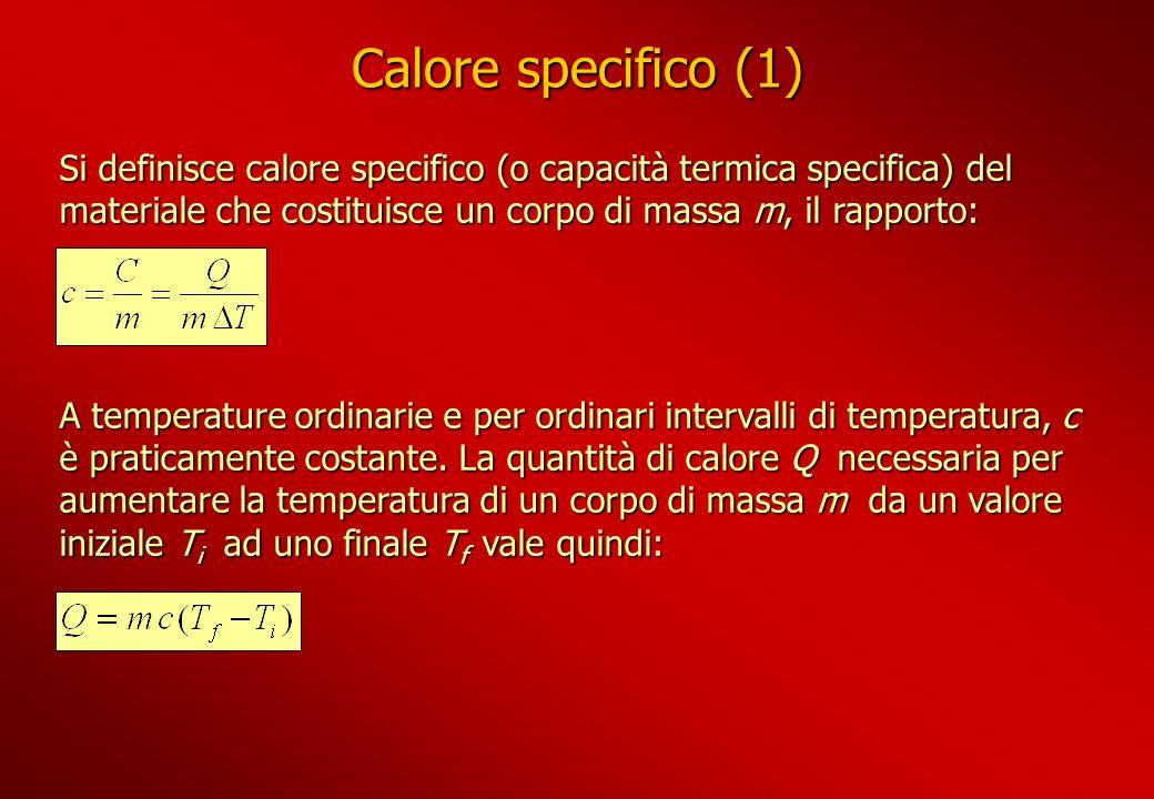 Calore specifico (1) Si definisce calore specifico (o capacità termica specifica) del materiale che costituisce un corpo di massa m, il rapporto: