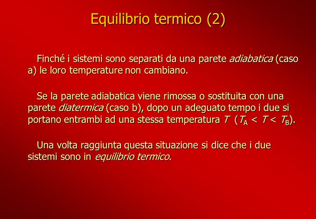 Equilibrio termico (2) Finché i sistemi sono separati da una parete adiabatica (caso a) le loro temperature non cambiano.