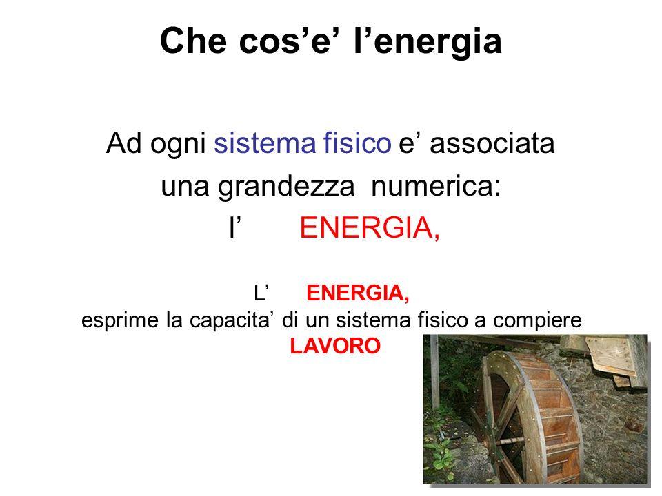 Che cos'e' l'energia Ad ogni sistema fisico e' associata