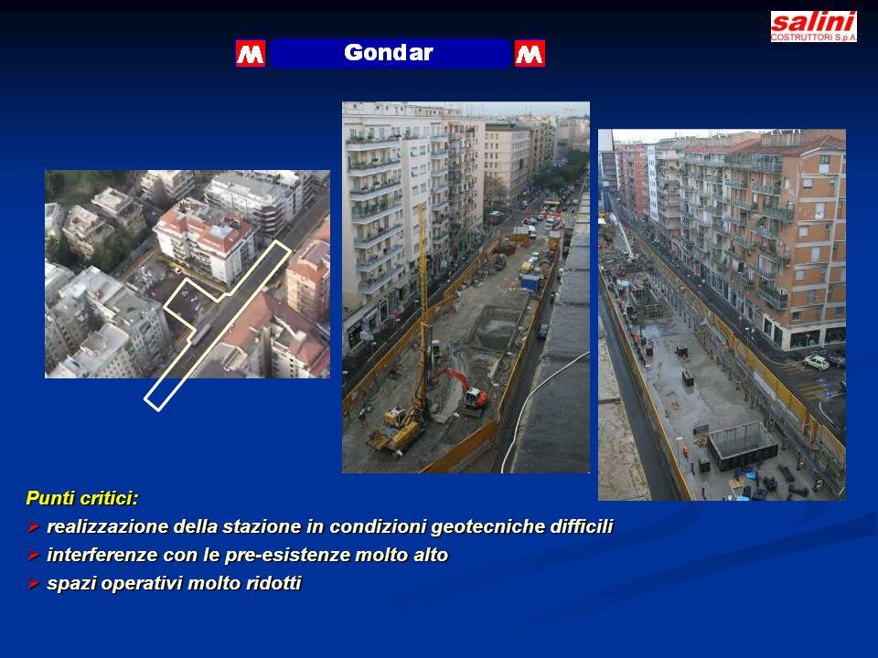 Punti critici: realizzazione della stazione in condizioni geotecniche difficili. interferenze con le pre-esistenze molto alto.