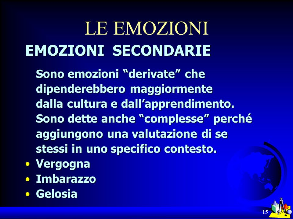 LE EMOZIONI EMOZIONI SECONDARIE Sono emozioni derivate che