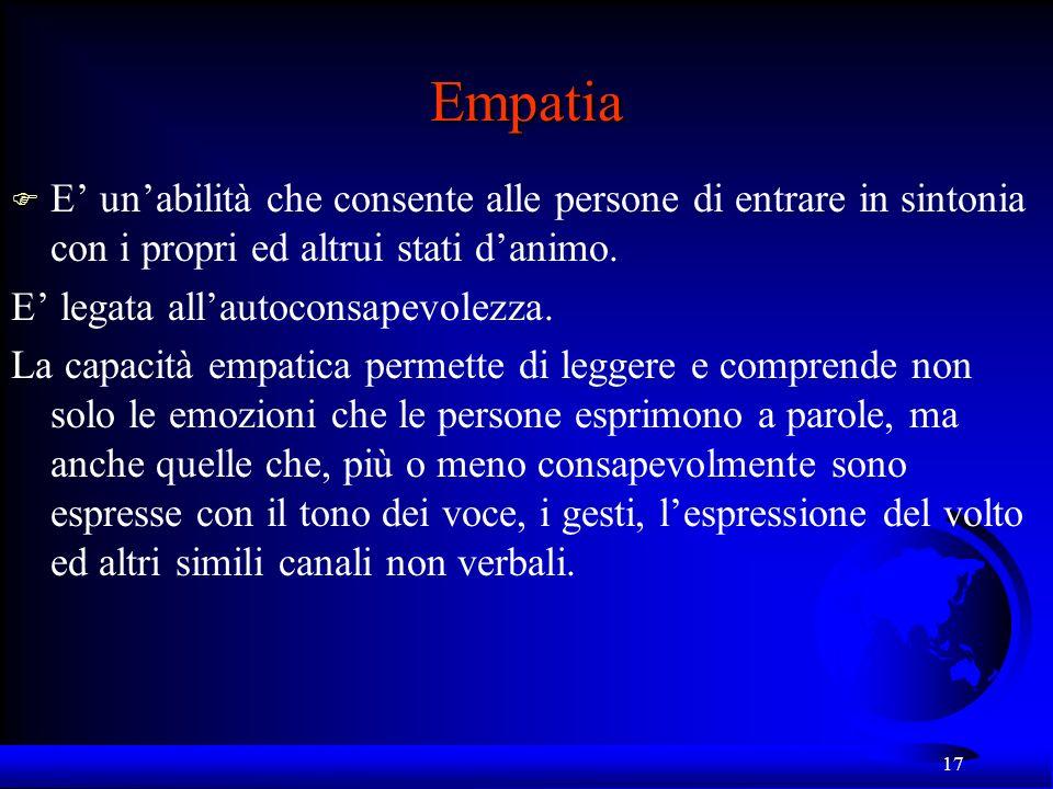 Empatia E' un'abilità che consente alle persone di entrare in sintonia con i propri ed altrui stati d'animo.