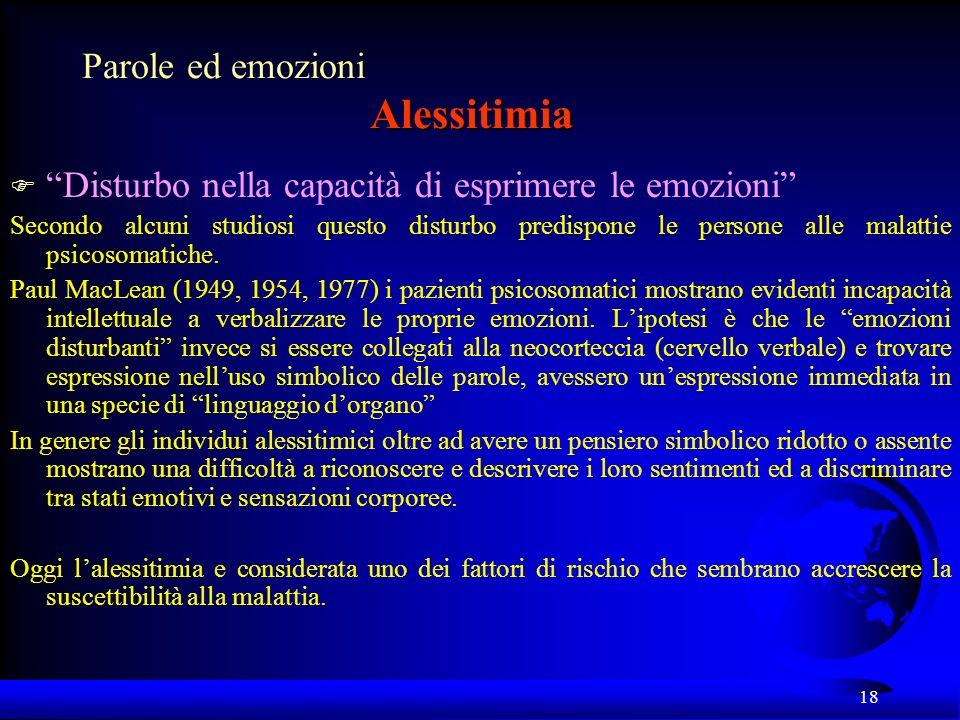 Parole ed emozioni Alessitimia
