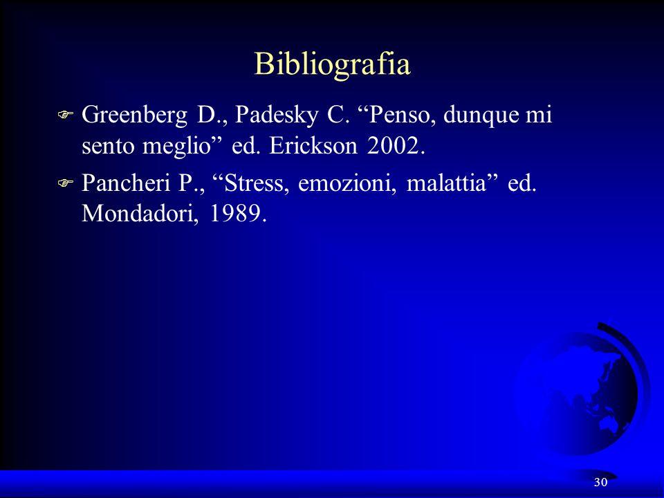 Bibliografia Greenberg D., Padesky C. Penso, dunque mi sento meglio ed. Erickson 2002.