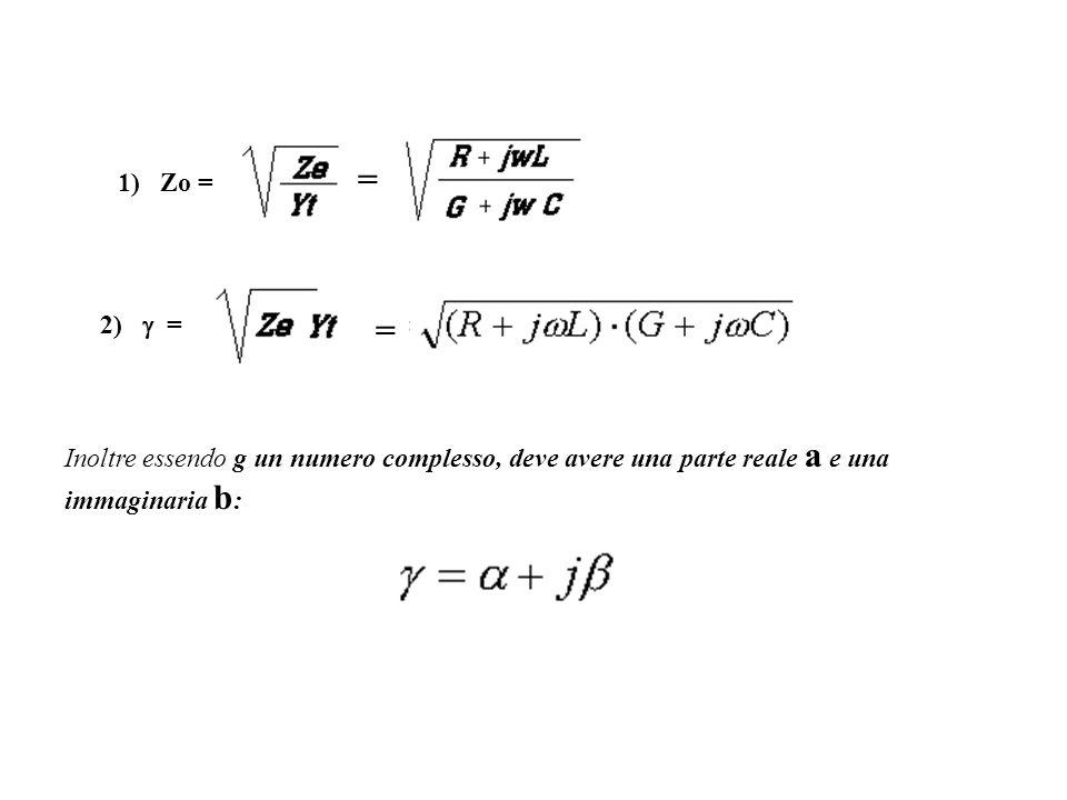 =1) Zo = 2)  = = Inoltre essendo g un numero complesso, deve avere una parte reale a e una immaginaria b: